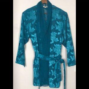 Victoria's Secret Teal floral sheer robe M